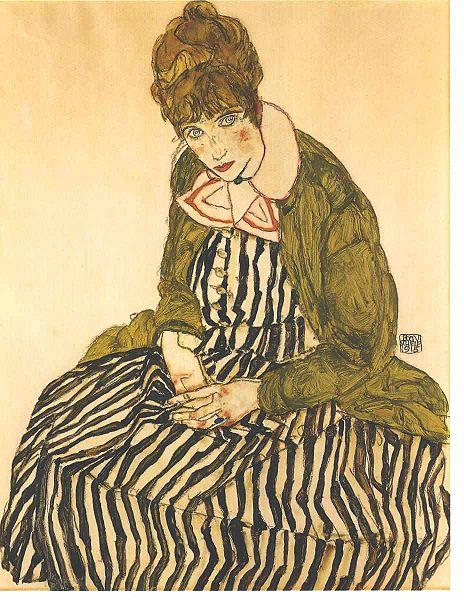 Portrait of Edith Schiele with striped dress