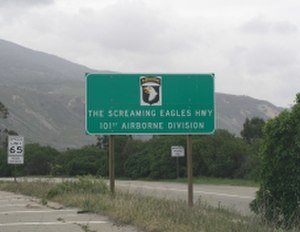 "Ventura Freeway - Sign marking the ""Screaming Eagles Highway"""