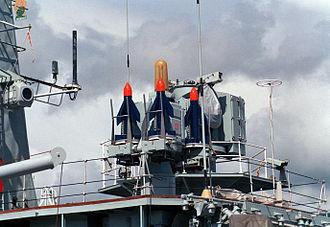 HMNZS Wellington (F69) - Sea Cat missile launcher on HMNZS Wellington, 1987