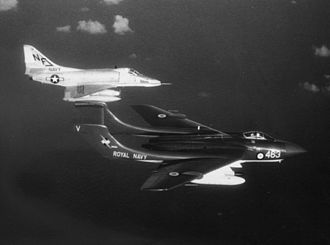 De Havilland Sea Vixen - Sea Vixen of 893 NAS operating alongside an A-4 Skyhawk of VA-55 in 1964