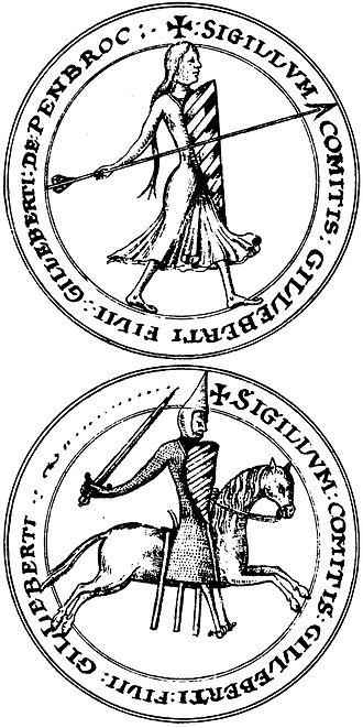 Gilbert de Clare, 1st Earl of Pembroke - Seal of Gilbert fitz Gilbert, from Lansdowne MS. 203
