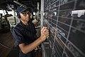 Seaman updates navigational information on the bridge of USS Bonhomme Richard. (30193090351).jpg