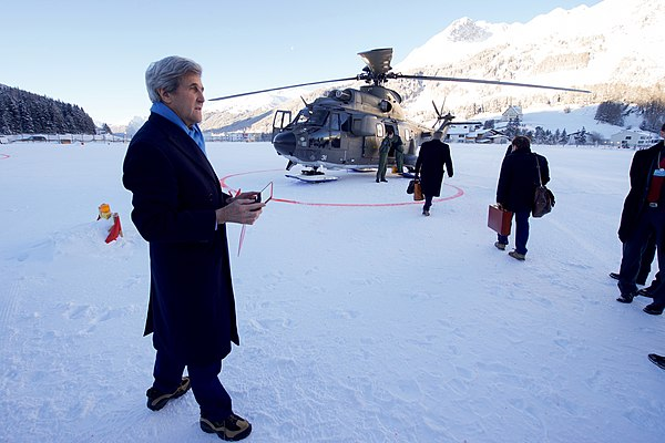 Secretary Kerry Looks out Over the Landing Zone Before a Helicopter Flight Following the World Economic Forum in Switzerland (32017721080).jpg