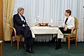 Secretary Kerry Sits With Estonian Foreign Minister Pentus-Rosimannus During Bilateral Meeting at NATO Headquarters in Belgium (15930176755).jpg