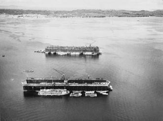 Seeadler Harbor - The floating drydocks ASBD-2 and ASBD-4 in Seeadler Harbor, 1945.