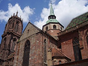 St. George's Church, Sélestat - Lateral view of St. George's Church looking to the steeple
