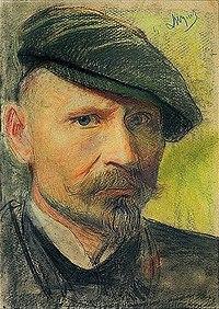 Selfportrait of Leon Wyczółkowski in flat cap.jpg
