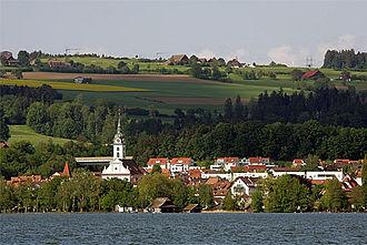 Sempach Bird Observatory - Sempach from across the lake