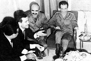 1966 Syrian coup d'état - From left to right: Interior Minister Muhammad Rabah al-Tawil, Chief of Staff Mustafa Tlass, Commander of the Golan Front Ahmad al-Meer, and Salah Jadid