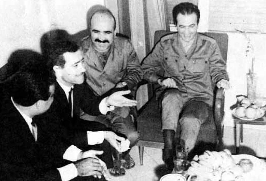 Senior officials in the Baath Party in a rare un-official photograph with Salah Jadid from 1969