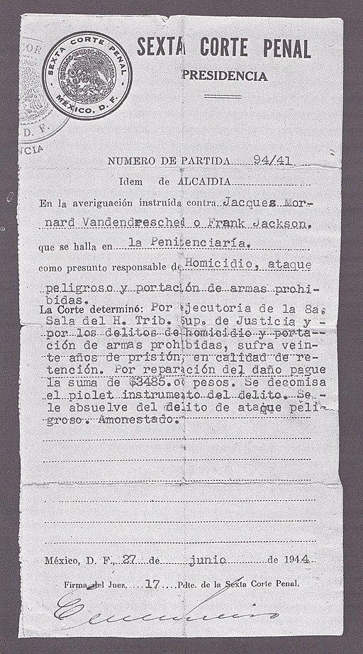 Sentencia definitiva condenando a Ramón Mercader en 1944 - 'Ramón Mercader, mi hermano' (Luis Mercader y Germán Sánchez)