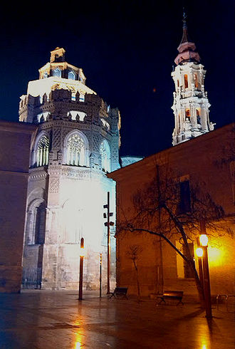Cathedral of the Savior of Zaragoza - La Seo, night.