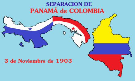 The separation of Panama from Colombia was formalized on 3 November 1903 Separacion Panama de Colombia.png
