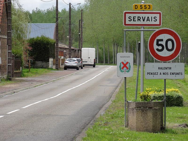 Servais (Aisne) city limit sign