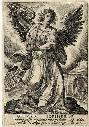 Jophiel - Engraving of the archangel Jophiel, ca. 1590-1637