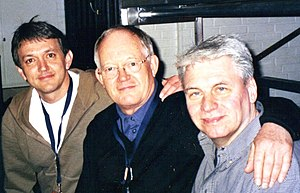 Mark Griffiths - Warren Bennett, Brian Bennett and Mark Griffiths backstage at the Esbjerg Stadionhal, Denmark, 2005