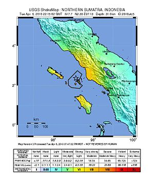 April 2010 Sumatra earthquake - Image: Shakemap 2010Indonesia