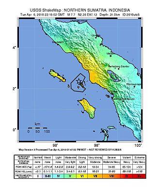 April 2010 Sumatra earthquake - Image: Shakemap 2010Indonesia