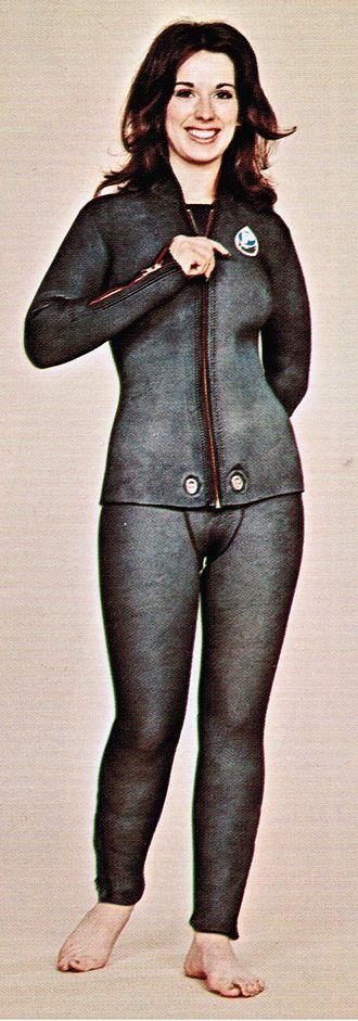 Sharkskin - Women's artificial sharkskin wetsuit, 1970s.