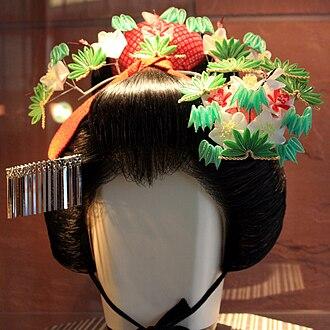 Kanzashi - A modern January tsumami kanzashi worn by maiko