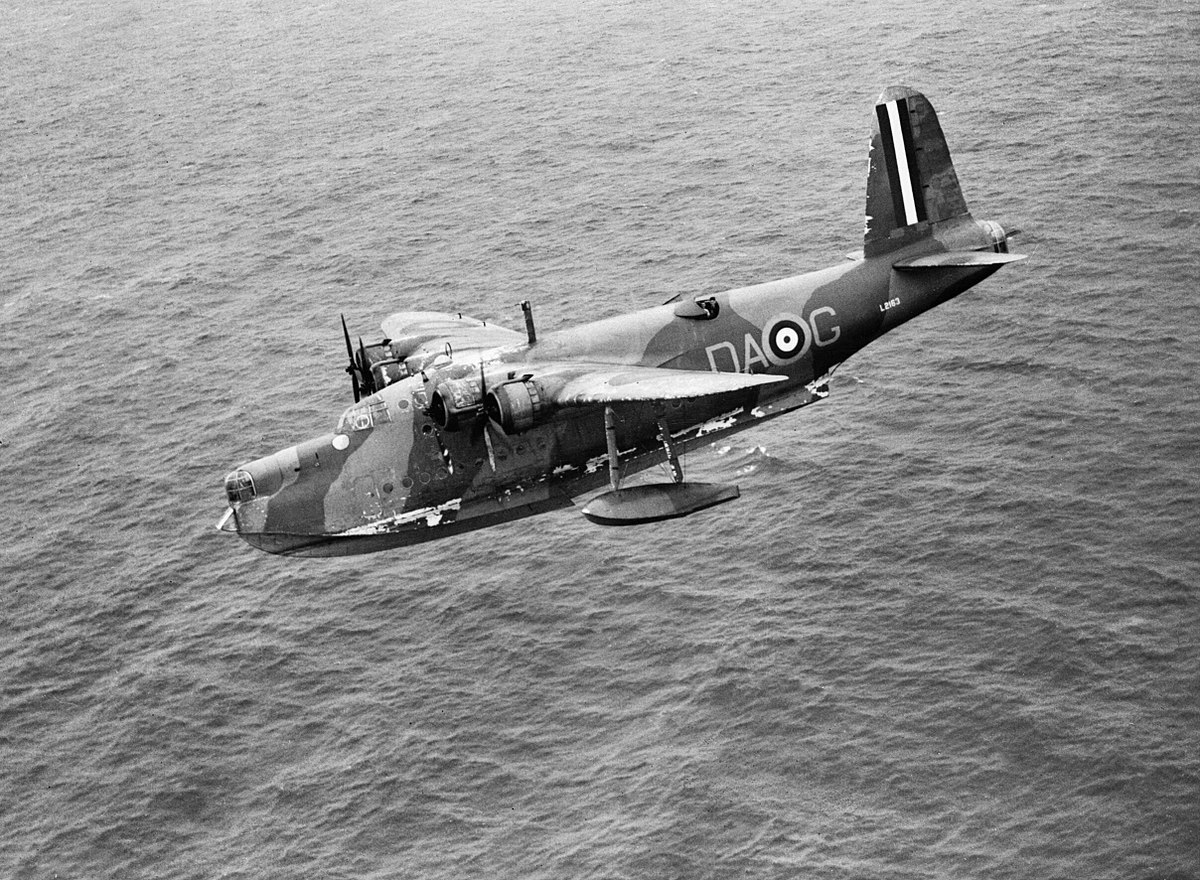 Short Sunderland Mk I of No. 210 Squadron RAF based at Oban in Scotland, escorting a Canadian troop convoy into Greenock, 31 July 1940. CH795.jpg