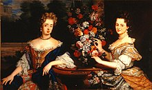 Sibylle of Saxe-Lauenburg (Margravine of Baden-Baden) with her sister Anna Maria Franziska her sister (Grand Duchess of Tuscany), anon.jpg