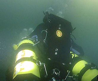 Sidemount diving - Sidemount diver using an OMS Profile adapted wing BCD