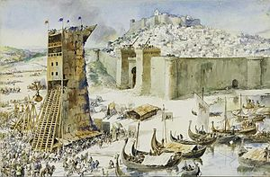 Walter fitz Alan - An early twentieth-century depiction of the Siege of Lisbon in 1147. There is reason to suspect that Walter was amongst the Scots who took part in the campaign to liberate Lisbon from the Moors.