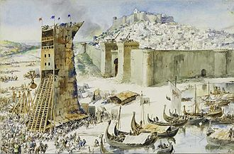 Siege of Lisbon - The Conquest of Lisbon painting by Alfredo Roque Gameiro (1917)
