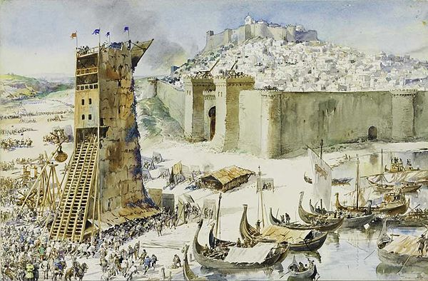 Siege of Lisbon (1147) by Alfredo Roque Gameiro (1917)