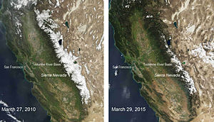 Nevadan orogeny - Location of the Sierra Nevada mountains, best seen in the Left image where the mountain range is covered in snow.