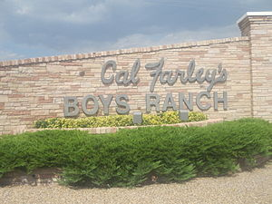 Cal Farley - Sign off U.S. Route 385 to Cal Farley's Boys Ranch in Oldham County, Texas