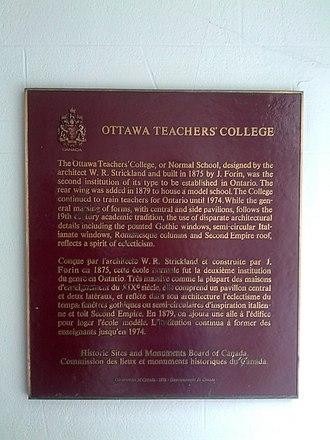 Ottawa Normal School - Sign about Ottawa Normal School and Ottawa Teacher's College.