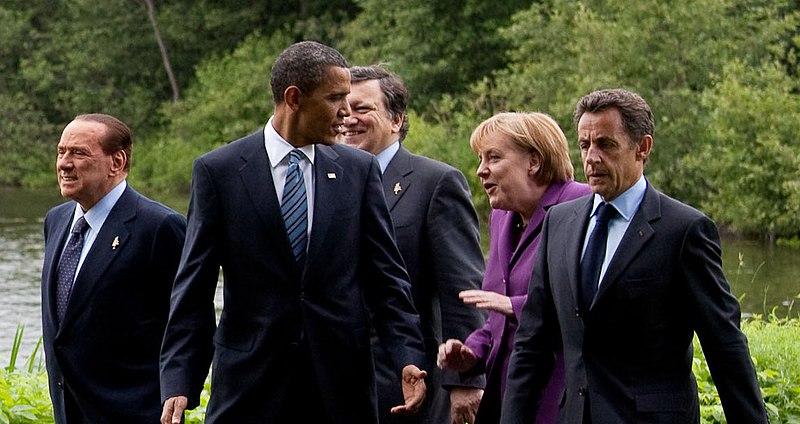 File:Silvio Berlusconi Barack Obama Jose Manuel Barroso Angela Merkel and Nicolas Sarkozy cropped 36th G8 summit member 20100625.jpg