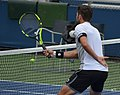 Simone Bolelli proving he can hit volleys with one hand tied behind his back (31958641987).jpg