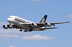 Singapore Airlines Airbus A380 (9V-SKD) arrives London Heathrow 7June2015 arp.jpg