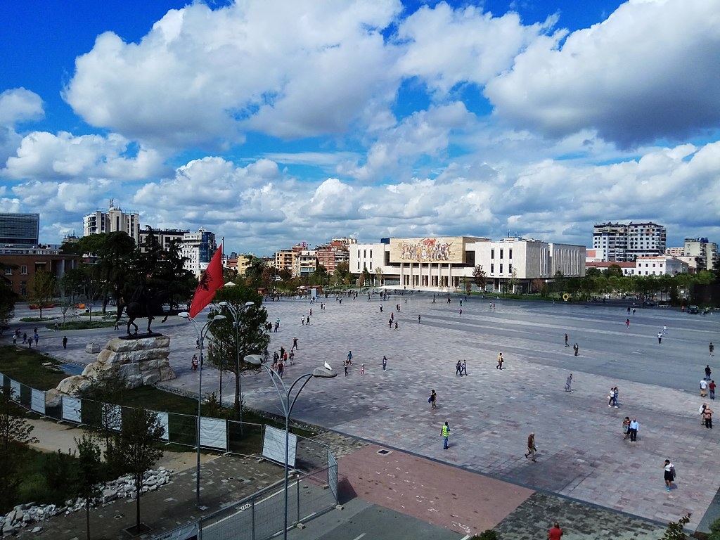 View of the Skanderbeg Square from the Municipality Building, September 2017 (Image: Wikimedia Commons)