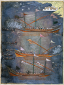 Sloane 3584 f.78v Turkish galleys in battle, c.1636.PNG