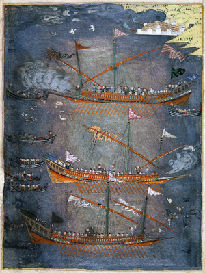 Polish–Ottoman War (1633–34) - Image: Sloane 3584 f.78v Turkish galleys in battle, c.1636