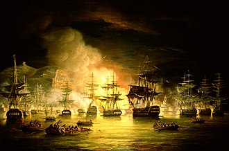 Algiers - The bombardment of Algiers by Lord Exmouth, August 1816, painted by Thomas Luny