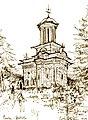 Small church Bolnitza, near Cozia Monastery (drawing pencil) 1979.jpg
