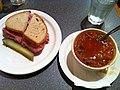 Smoked Meat Sandwich + Cabbage Borsch @ New Yorker Deli (5690848604).jpg