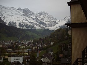Snow capped mountains seen from 'Edeilweiss Hotel' in Engelberg.jpg