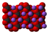 Space-filling model of the crystal structure of sodium carbonate