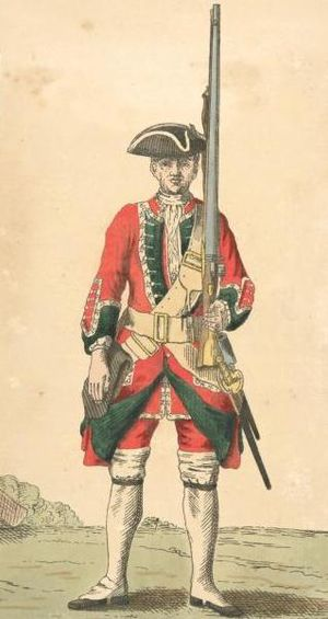46th (South Devonshire) Regiment of Foot - Soldier of 46th regiment, 1742