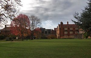 Somerville College, Oxford - Somerville College, Oxford – Main Quad, looking westwards, from left to right Penrose, Wolfson, Park, Holtby