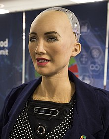 Sophia at the AI for Good Global Summit 2018 (27254369347) (cropped).jpg