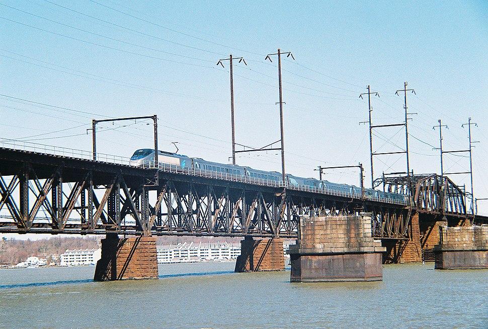 Southbound Acela Express crossing the Susquehanna River Bridge