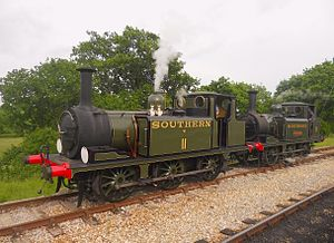LB&SCR A1 class - Both Class A1X No. W11 and No. W8 run round the train at Wootton on the Isle of Wight Railway