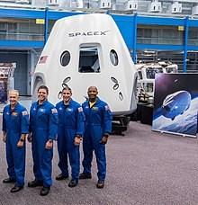 selected for its first two crewed missions (foreground), from left to  right: douglas hurley, robert behnken, michael hopkins and victor glover